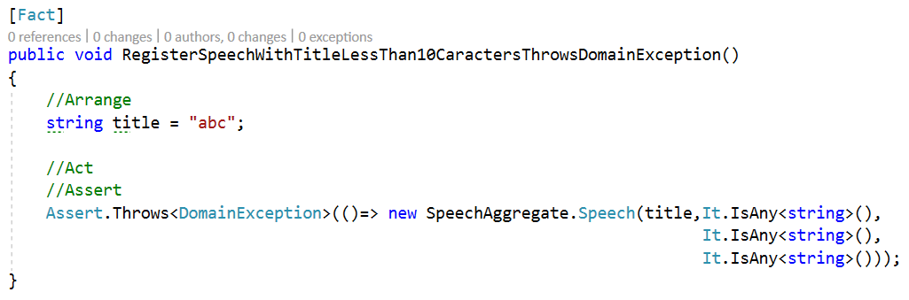 RegisterSpeechWithTitleLessThan10CaractersThrowsDomainException