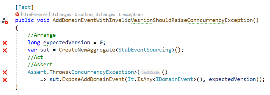 AddDomainEventWithInvalidVesrionShouldRaiseConncurrencyExceptionBefore
