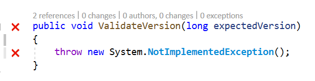 ValidateVersionNotImplemented
