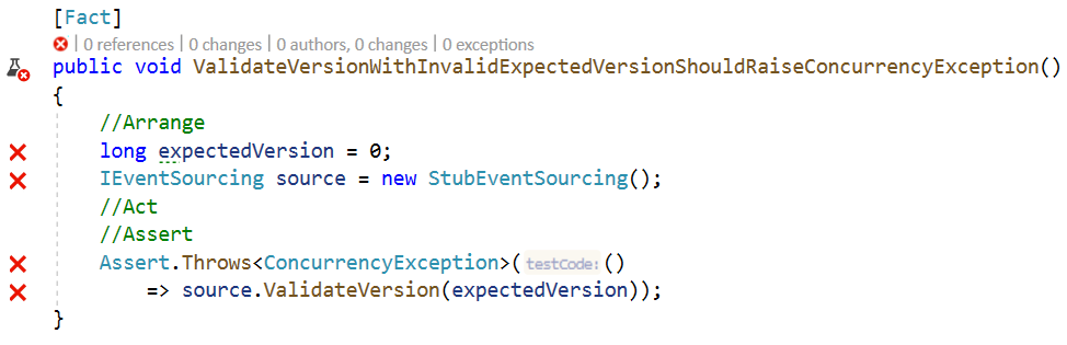 ValidateVersionWithInvalidExpectedVersionShouldRaiseConcurrencyExceptionTestFails